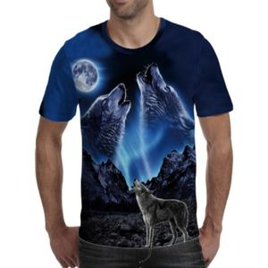 Howling the Moon Silky T-shirt Blue Black Small